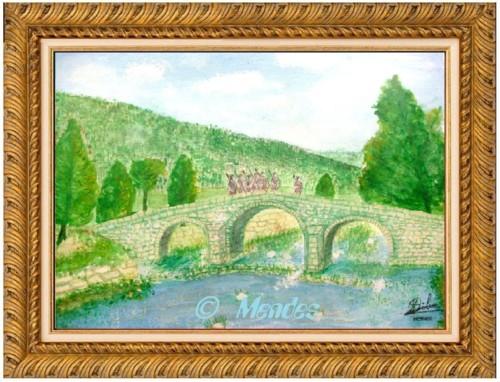 02 -  Ponte Românica Grande de Cerva Aguarela.JPG