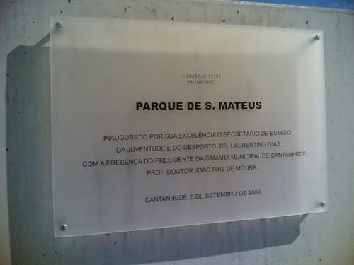 Cantanhede: Parque de S. Mateus - Placa