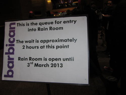 Rain Room queue notice board
