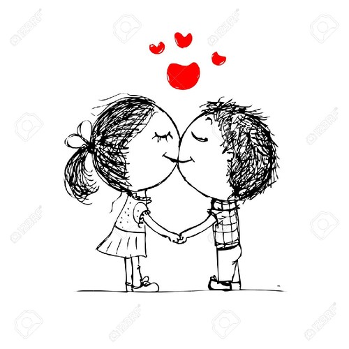25245263-Couple-kissing-valentine-sketch-for-your-