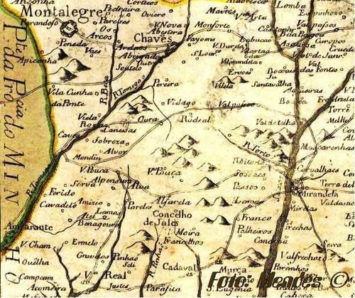 Cerva - Excerto de Mapa  - 1728
