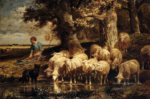 7-A-Shepherdess-With-Her-Flock-sheep-animalier-Cha