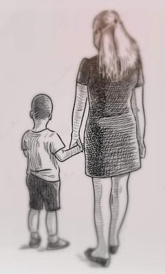 um-desenho-da-mão-de-uma-mãe-nova-com-seu-filho-