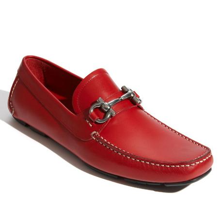 Salvatore Ferragamo Parigi mocassin sapato vermelho desportivo para homem