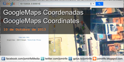 Blog Post: GPS: Como obter as coordenadas de um local no GoogleMaps http://jomirife.blogspot.com/2013/10/googlemaps-coordenadas.html [en] GPS: How to get the coordinates of a location on GoogleMaps