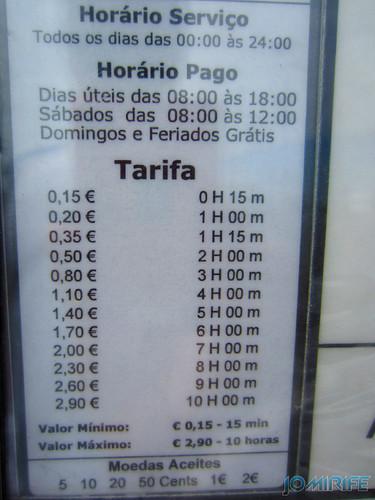 Figueira da Foz: Estacionamento de Carros no Parque das Gaivotas é pago (6) Tarifa [en] Car parking in Seagull Park is paid in Figueira da Foz, Portugal