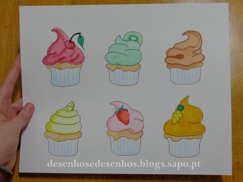 cupcakes pintados a aguarela