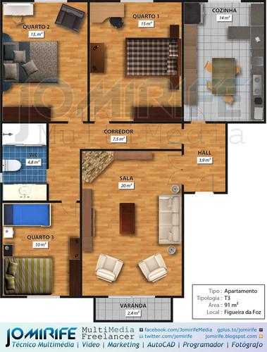 Planta humanizada: Apartamento T3 Figueira da Foz