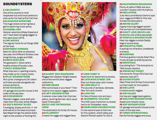 Lista dos sound systems do Carnaval de Notting Hill