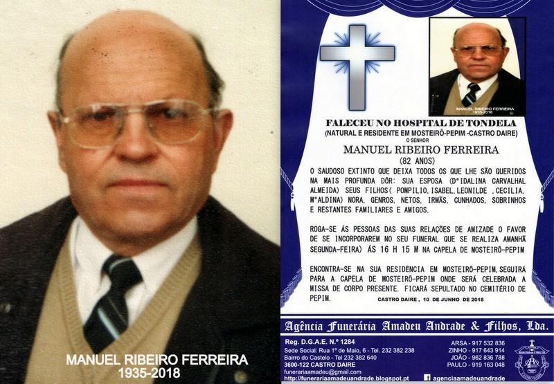 FOTO RIP-MANUEL RIBEIRO FERREIRA  -82 ANOS (MOSTEI