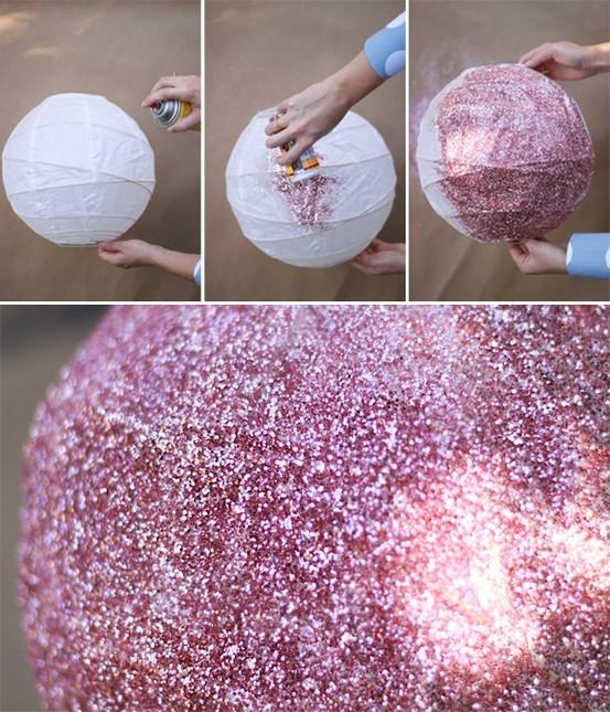 decoracao de interiores faca voce mesmo:DIY Paper Lantern Glitter