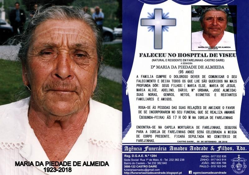 FOTO RIP-MARIA DA PIEDADE DE ALMEIDA  -95 ANOS (FA