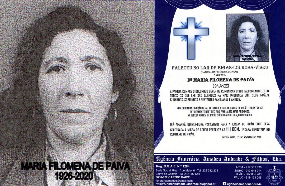 FOTO RIP DE MARIA FILOMENA DE PAIVA-94 ANOS (PICÃ