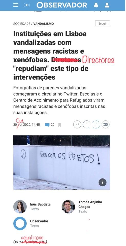 Inês Baptista & la., «Instituições em Lisboa vandalizadas …», Observador, 30/X/20