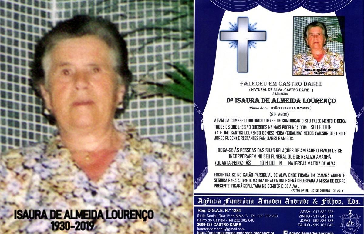 RIP FOTO -DE ISAURA DE ALMEIDA LOURENÇO-89 ANOS (