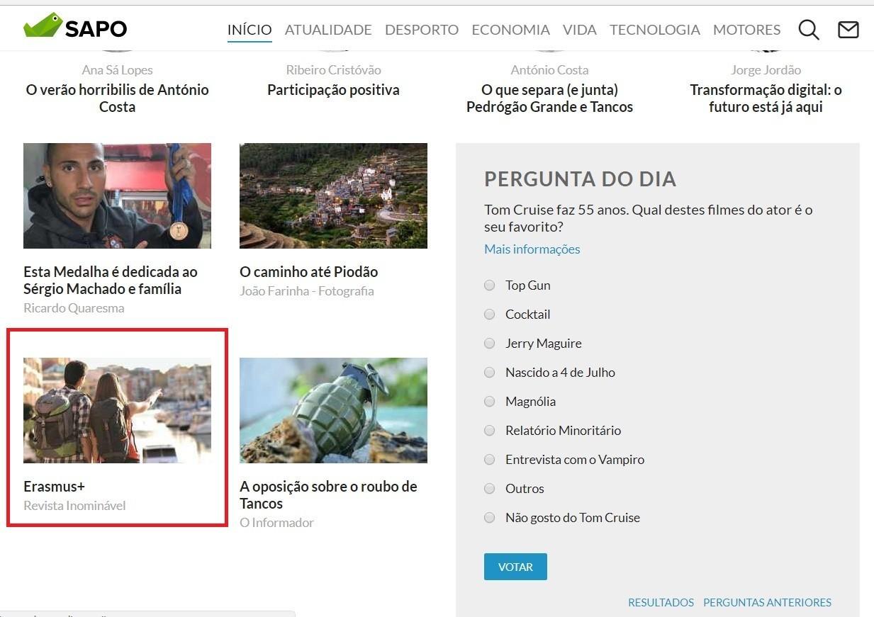 Destaque Sapo Blogs