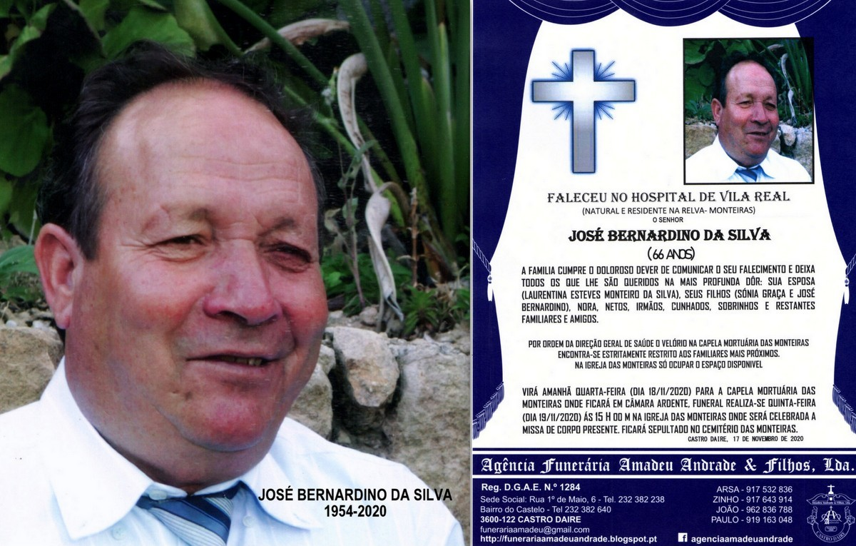 FOTO RIP  DE JOSÉ BERNARDINO DA SILVA- RELVA -MON