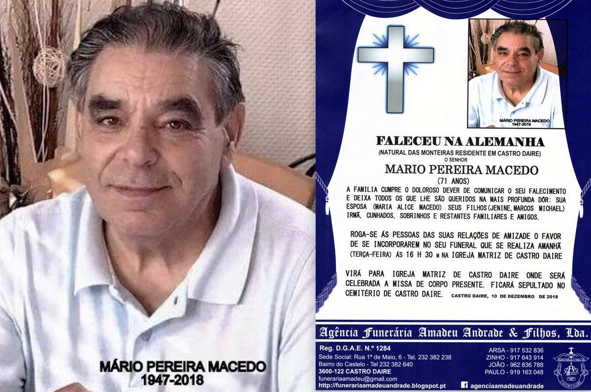 FOTO RIP HORÁRIO -MARIO PEREIRA  MACEDO -71 ANOS
