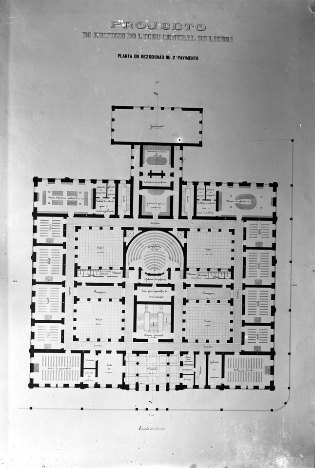 Planta do Liceu Central de Lisboa, atual Liceu Pas