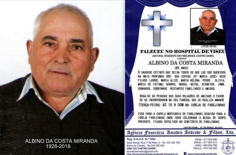 RIP FOTO DE ALBINO DA COSTA MIRANDA-89 ANOS (FAREJ