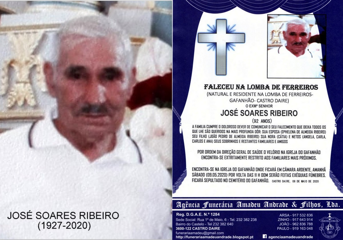 FOTO RIP DO SR,JOSÉ SOARES RIBEIRO-92 A  ANOS (GA