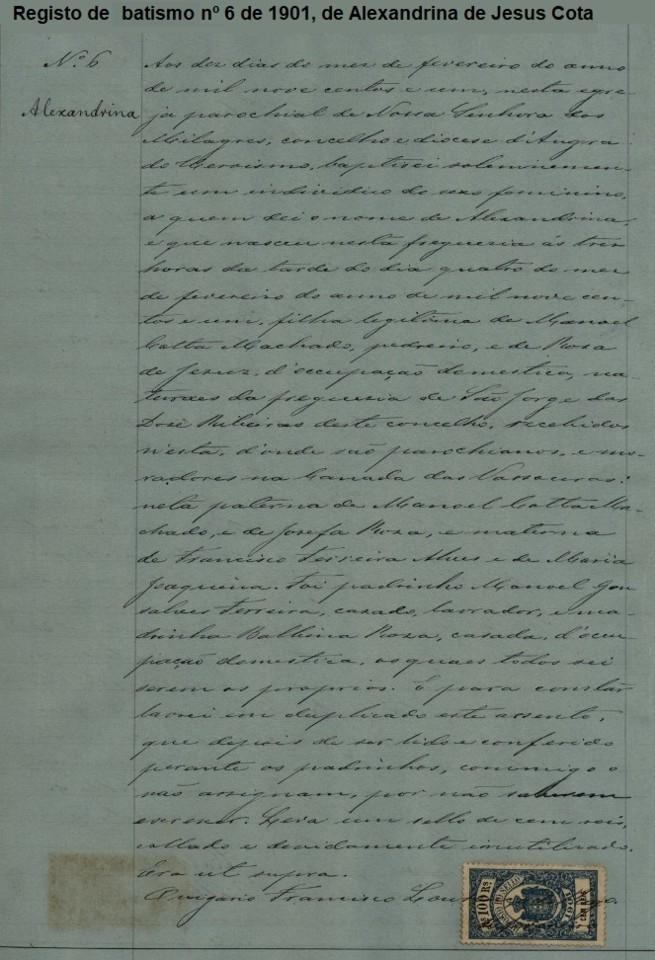 Registo 6 batismo avó Alexandrina Cota TER-AH-SERRETA 1901