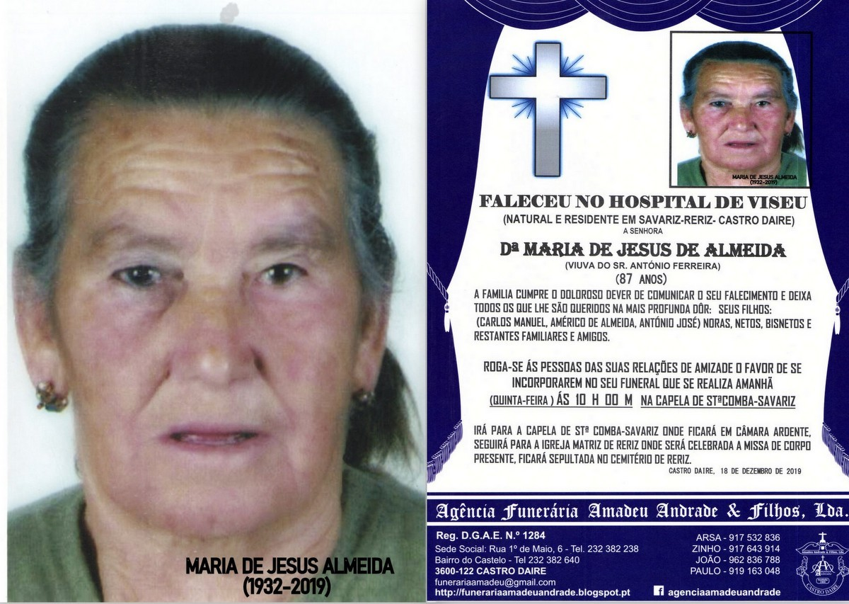 FOTO RIP  DE MARIA DE JESUS DE ALMEIDA-87 ANOS (SA