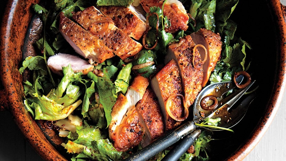 crispy-chicken-breasts-with-chermoula-and-escarole