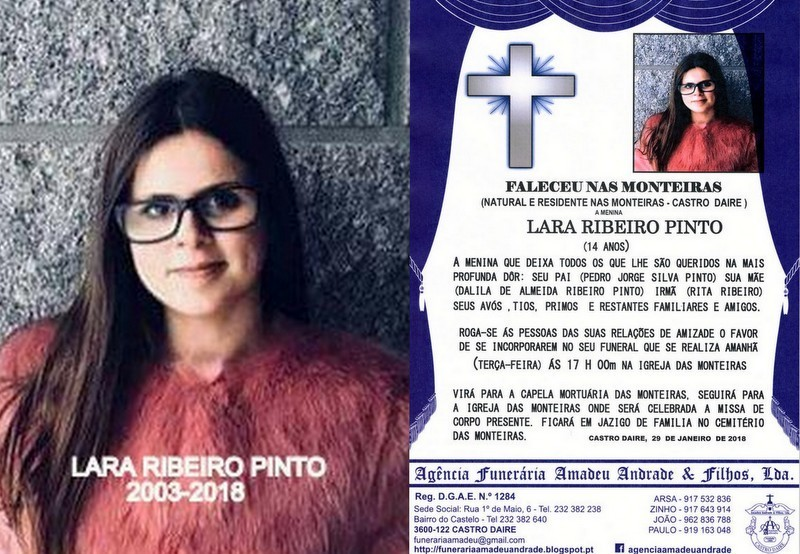 FOTO RIP-DE LARA RIBEIRO PINTO 14 ANOS (MONTEIRAS)