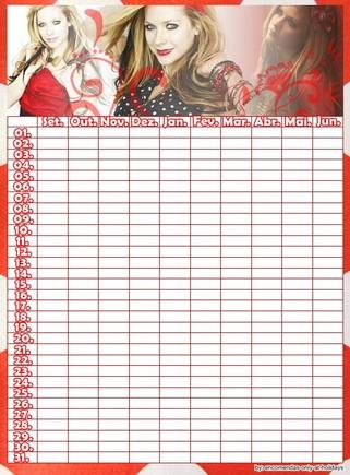 calendário testes