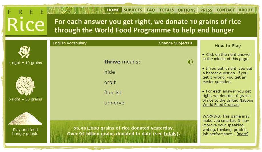 arroz livre jogo combater a fome