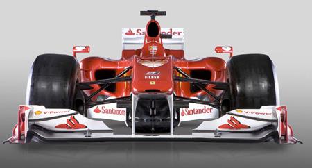 A agressiva frente do novo Ferrari F10, apresentado ontem pela casa de Maranello...