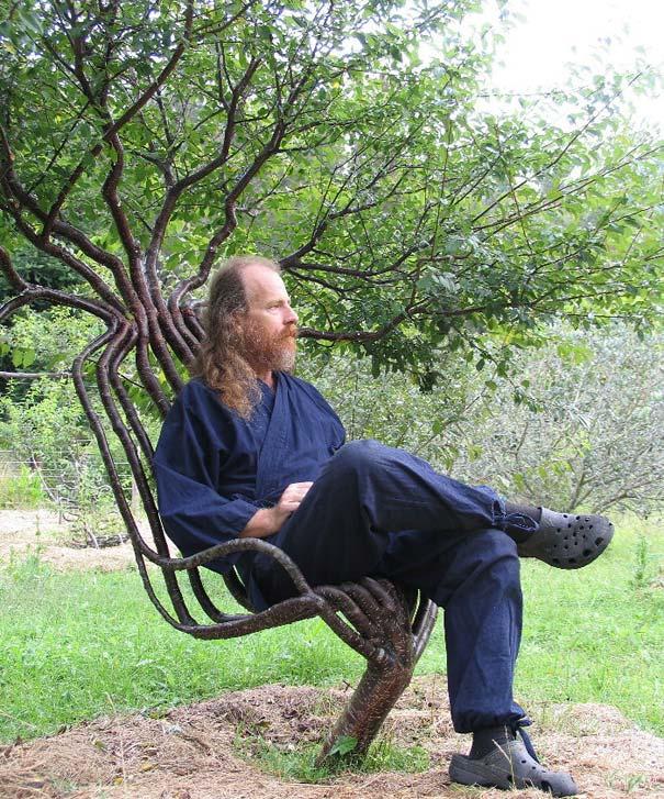 jardins ideias criativas : jardins ideias criativas:Peter Cook e a sua esposa Becky plantaram esta cadeira viva de madeira